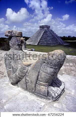 Chak Mul sacrificial statue of the Mayan at Chichen Itza - stock photo