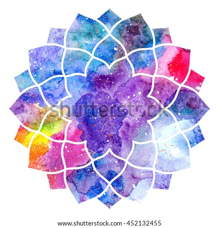 Chakra Sahasrara icon, ayurvedic symbol, concept of Hinduism, Buddhism. Watercolor cosmic texture. Isolated on white background