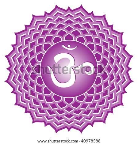 chakra series: sahasrara or crown chakra symbol - stock photo