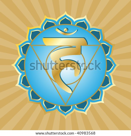 chakra series: vishudha or throat chakra symbol - stock photo