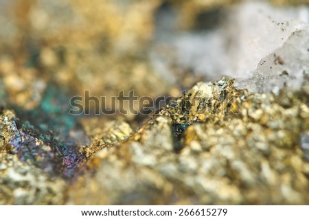 Chalcopyrite, It has the chemical formula (CuFeS2). Copper iron sulfide mineral. Macro. Beautiful fantastic background for successful projects. - stock photo