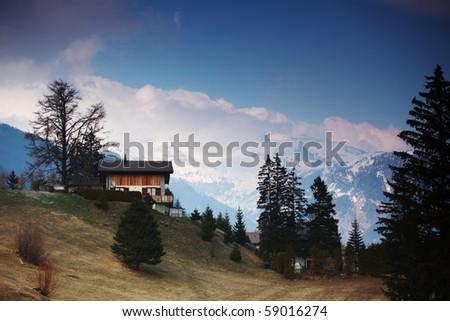 chalet in alpine - stock photo