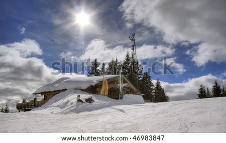Chalet in Austrian Alps - stock photo