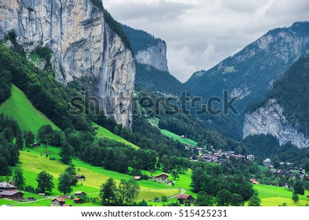 Chalet in Lauterbrunnen valley, District of Interlaken, Bern canton of Switzerland.