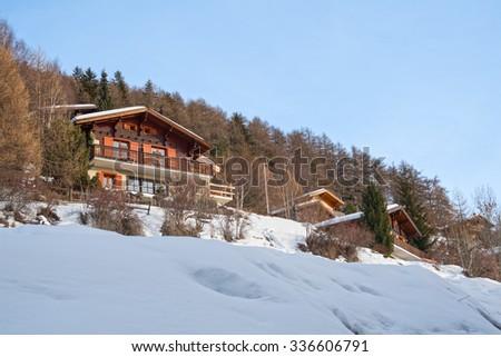 Chalet in the mountains, Veysonnaz, Switzerland - stock photo