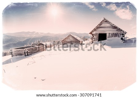 chalet in the mountains. Vintage effect - stock photo