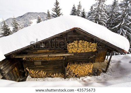 Chalet under the snow, French Alps, Areches