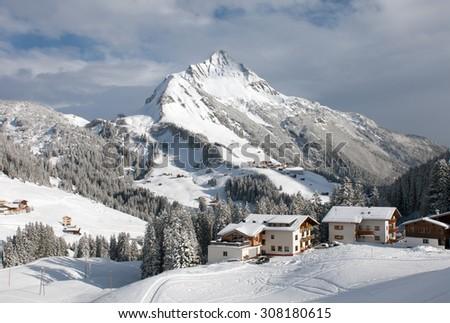Chalets and farmhouses, near Mount Biberkopf, Warth am Alberg,Vorarlberg, Austria - stock photo