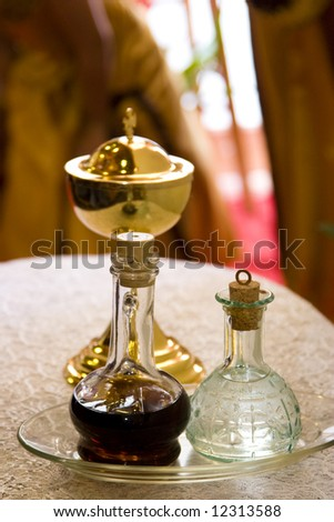 chalice, wine and water