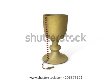 Chalice with rosary - stock photo