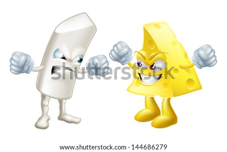 Chalk and cheese fighting concept. Opposites or dissimilar types not getting on, from the saying: like chalk and cheese, meaning very different.  Could also be to do with partisanship or tribalism - stock photo