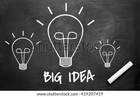 Chalk and light bulb write on chalkboard background , big idea concept - stock photo