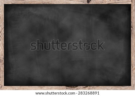 chalk board background textures with old vintage wooden frame ,blackboard concept - stock photo