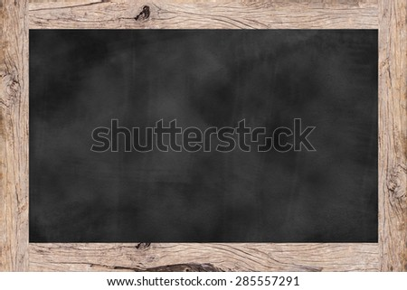 chalk board background textures with old vintage wooden frame ,blackboard concept.