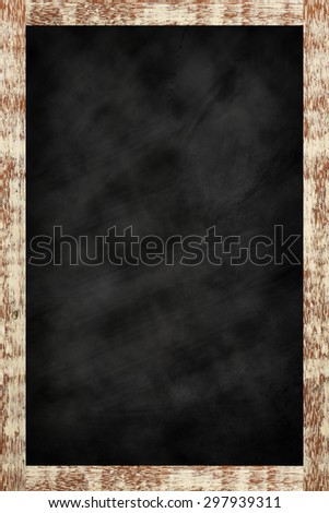 chalk board background textures with old vintage wooden frame ,blackboard concept , vertical black board style.use for work about backgrounds,education,shop,business and others. - stock photo