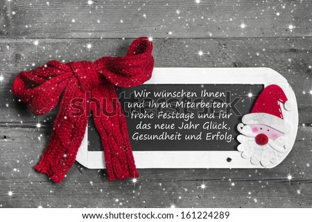 Chalk board for Merry Christmas message, santa on wooden background for a greeting card - country style - old slate sign - text  - stock photo
