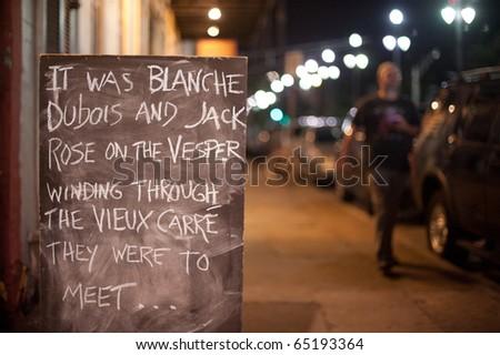 Chalk board Love Note outside Bar - stock photo