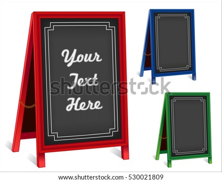 Chalk board sidewalk signs, three folding easels with brass chains, red, green, blue frames for business, blackboard background with copy space.