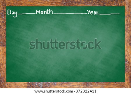 chalk board texture with old vintage stripe wooden frame green color blackboard concept:learning school board backdrop with copy-space concept:education/studying/academy wallpaper display idea. - stock photo