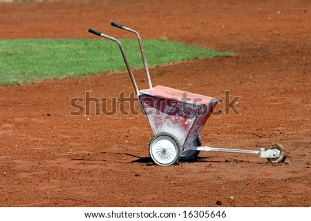 Chalk Bucket Used for creating Base Lines - stock photo