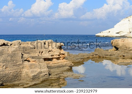 chalk cliff at Rosh Hanikra reserve, northern Israel - stock photo
