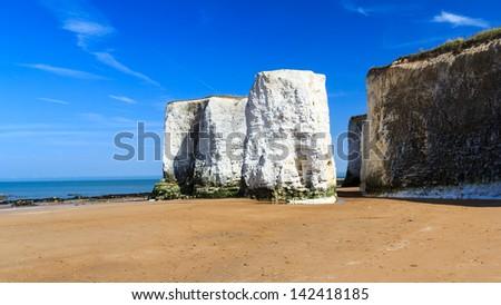 Chalk Cliffs at Botany Bay beach at Broadstairs on the Kent Coastline England UK - stock photo