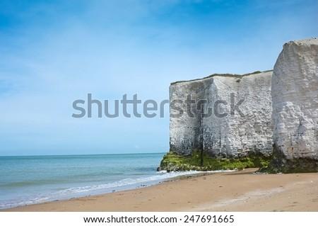 Chalk cliffs at Botany Bay, Broadstairs on the Kent Coastline England, UK - stock photo