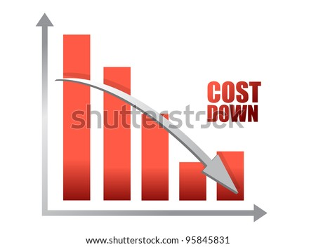 Chalk drawing - Cost down chart illustration design - stock photo