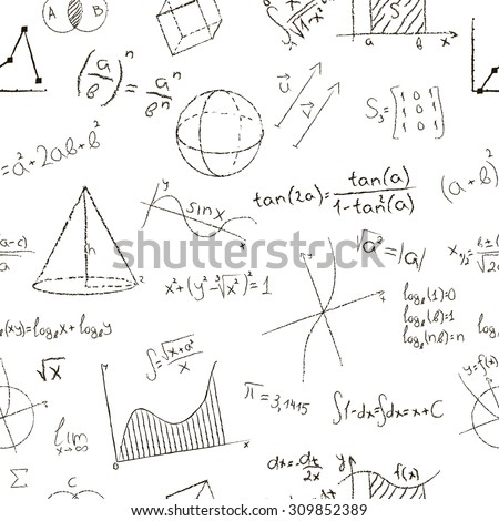 Chalk drawing effect. Math formulas and graphs on white background. Seamless pattern. Illustration.