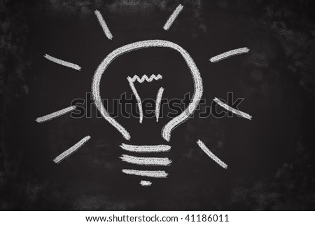 Chalk drawing of light bulb. Brilliant idea concept. - stock photo