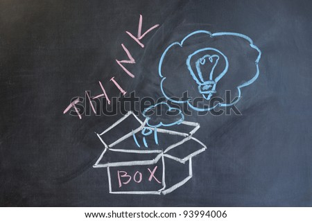 Chalk drawing - Think outside the box - stock photo