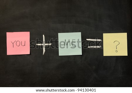 Chalk drawing - You plus me - stock photo
