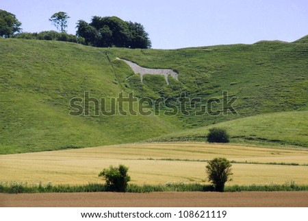 Chalk Horse at Cherhill in Wiltshire - stock photo