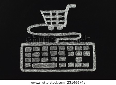 Chalk keyboard connected to cart, shopping concept, drawn by hand not in photoshop  - stock photo