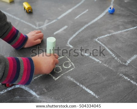 chalk kid street traffic