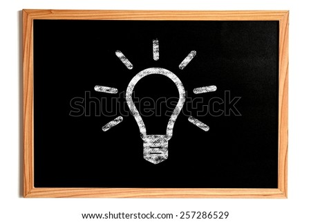 Chalk Light Bulb Shape on Chalkboard with Wooden Frame Isolated on White, Idea Concept - stock photo