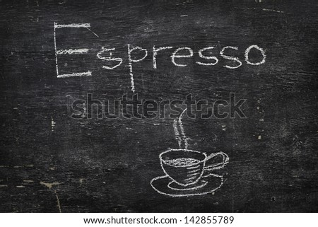 Chalk on black board: Espresso