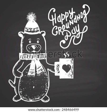 Chalk painted illustration with groundhog, heat and text. Happy Groundhog Day Theme. - stock photo
