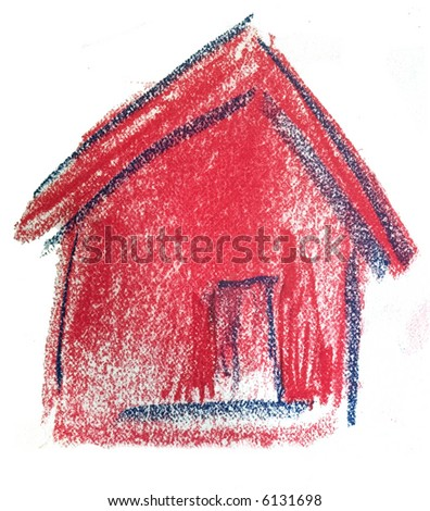 Chalk Pastel drawing of a house - stock photo