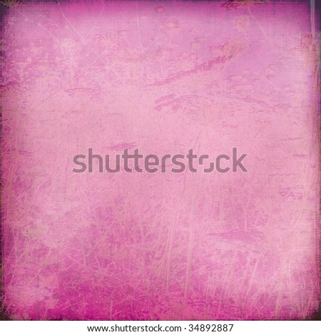 chalk scratch pink background with grunge frame - stock photo
