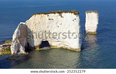 Chalk stack rock formations Old Harry Rocks Isle of Purbeck in Dorset south England UK the most easterly point of the Jurassic Coast like the Needles isle of Wight - stock photo