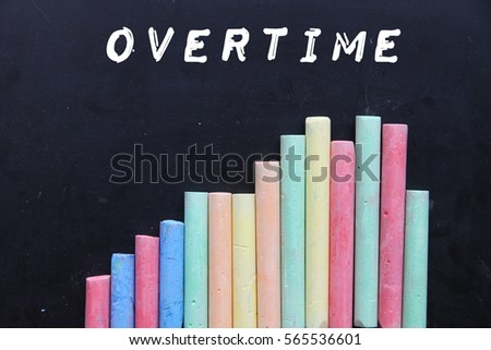 Chalk with blackboard and text overtime