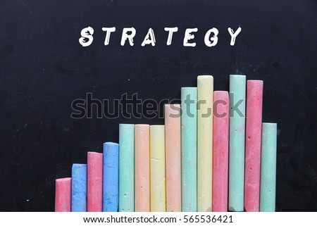 Chalk with blackboard and text strategy.