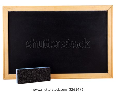 Chalkboard and eraser isolated on white