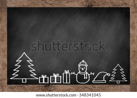 chalkboard background with handwritten doodle of Christmas festival celebration decorate.blackboard with wooden frame with doodle cartoon of xmas day concept. - stock photo