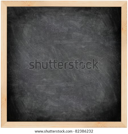 Chalkboard blackboard with frame isolated. Black chalk board texture empty blank with chalk traces and wooden frame. Square. - stock photo