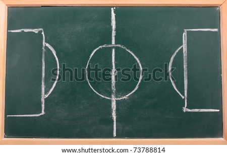 chalkboard classroom soccer tactics team - stock photo