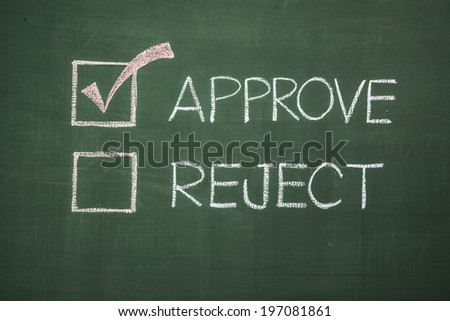 Chalkboard drawing, Approve selected . - stock photo