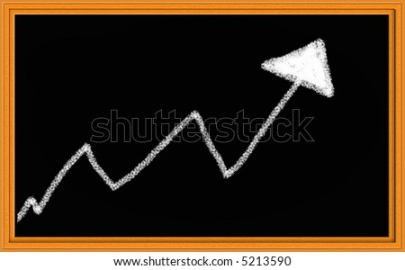 Chalkboard Illustration of Trend Arrow Going Up - stock photo
