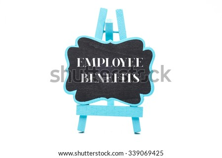 Chalkboard in blue wooden frame isolated on white background with employee benefits words - stock photo